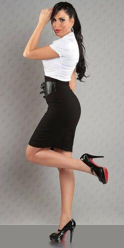 Dámska Vyvýšená sukňa s pásovým opaskom Čierna
