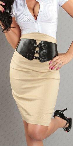 Dámska Vyvýšená sukňa s pásovým opaskom | Béžová
