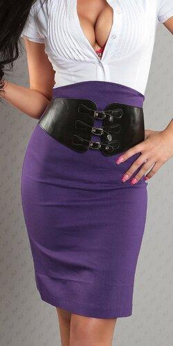 Dámska Vyvýšená sukňa s pásovým opaskom Fialová