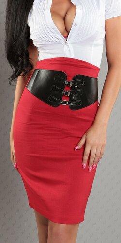 Dámska Vyvýšená sukňa s pásovým opaskom Červená