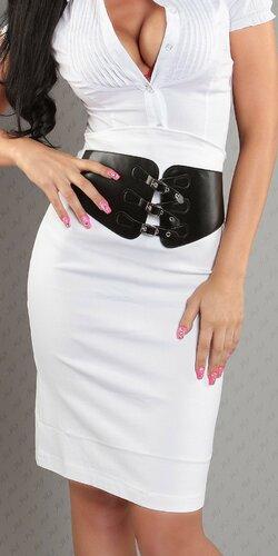 Dámska Vyvýšená sukňa s pásovým opaskom | Biela