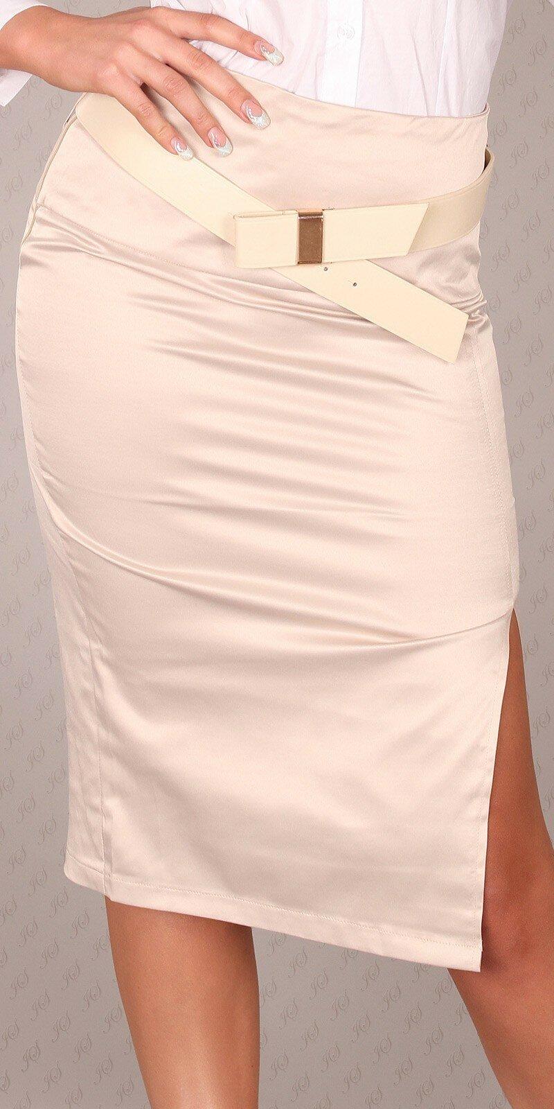 Dámska Štýlová sukňa s opaskom #Veľkosť 40 (L) Farba Béžová