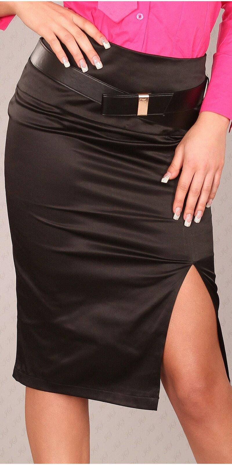 Dámska Štýlová sukňa s opaskom #Veľkosť 40 (L) Farba Čierna