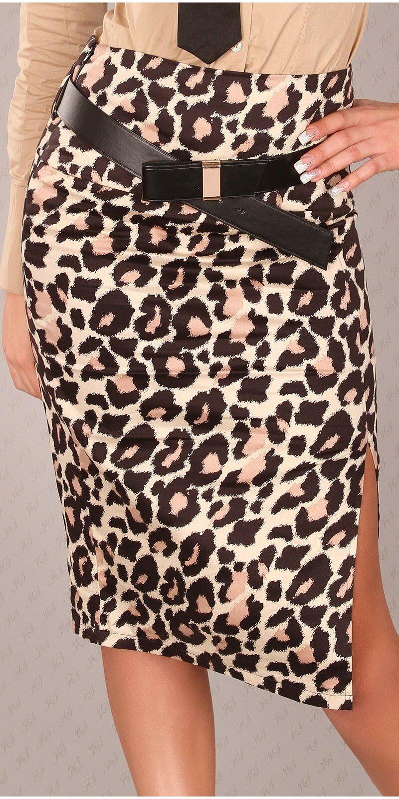 Dámska Štýlová sukňa s opaskom #Veľkosť 40 (L) Farba Leopard