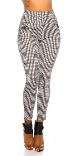 Čiernobiele nohavice so vzorom HOUNDSTOOTH