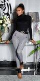 Čiernobiele nohavice so vzorom HOUNDSTOOTH Čierno-biela