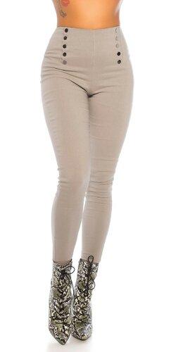 Vysoké nohavice s dekoratívnymi gombíkmi