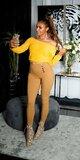 Vysoké nohavice s dekoratívnymi gombíkmi Bronzová