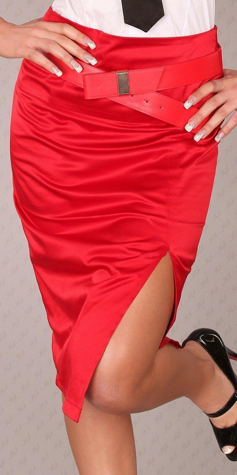 Dámska Štýlová sukňa s opaskom #Veľkosť 40 (L) Farba Červená