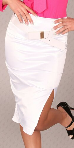 Dámska Štýlová sukňa s opaskom Biela