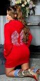Svetrové šaty s krídlami Červená