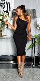 Dlhé pletené šaty na jedno ramienko Čierna