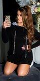 Dlhý sveter s lesklými kamienkami na šnúrkach Čierna