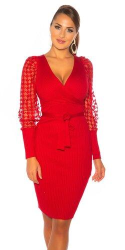 Pletené šaty s čipkovanými balónovými rukávmi Červená