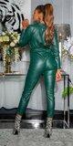 Dámska kožená kombinéza Zelená