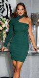 Bavlnené šaty s jedným rukávom Zelená