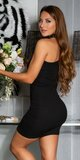 Bavlnené šaty s jedným rukávom Čierna