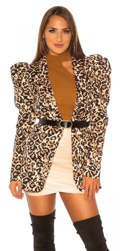 Leopardí blazer s opaskom