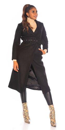 Dlhý KouCla kabát s opaskom