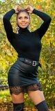 Kožená sukňa s čiernou čipkou Čierna