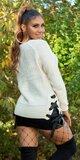 Pletený sveter s odhaleným jedným ramenom Béžová