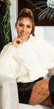 Pletený sveter s kapucňou Béžová