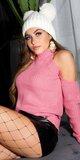 Dámsky dlhý pletený sveter Bledá ružová