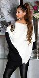 Pletený netopierý sveter Krémová