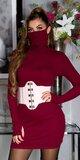 Bavlnené šaty s integrovaným rúškom Bordová