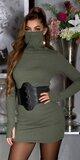 Bavlnené šaty s integrovaným rúškom Khaki
