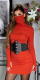 Bavlnené šaty s integrovaným rúškom Oranžová