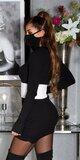 Bavlnené šaty s integrovaným rúškom Čierna