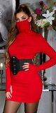 Bavlnené šaty s integrovaným rúškom Červená