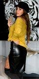 Dlhá kožená pencil sukňa Čierna