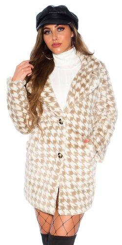 Hrejivý houndstooth kabát