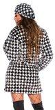 Hrejivý houndstooth kabát Čierna