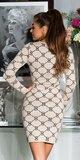 Dlhé pletené šaty s potlačou Béžová