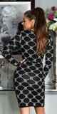 Dlhé pletené šaty s potlačou Čierna