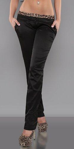Štýlové spoločenské nohavice s leopardími vzormi | Čierna