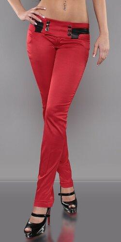 Dámske Nohavice s prvkami kože Červená