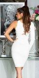 Bodycon šaty s jedným rukávom Biela