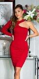 Bodycon šaty s jedným rukávom Červená