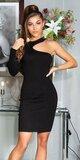Bodycon šaty s jedným rukávom Čierna