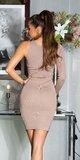 Bodycon šaty s jedným rukávom Cappuccino