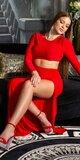 Šaty s otvoreným stenom Červená
