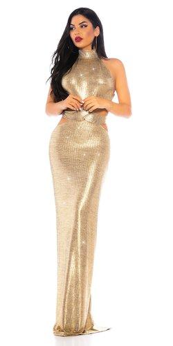 Dlhé zlaté šaty s uchytením okolo krku
