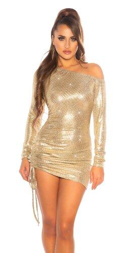 Zlaté mini šaty so šnurovaním