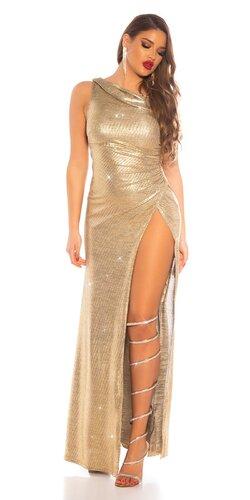 Zlaté šaty uchytené na jednom ramene
