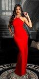 Úzke večerné šaty s veľkými kamienkami Červená