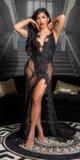 Dlhé odvážne šaty s priehľadnou čipkou Čierna